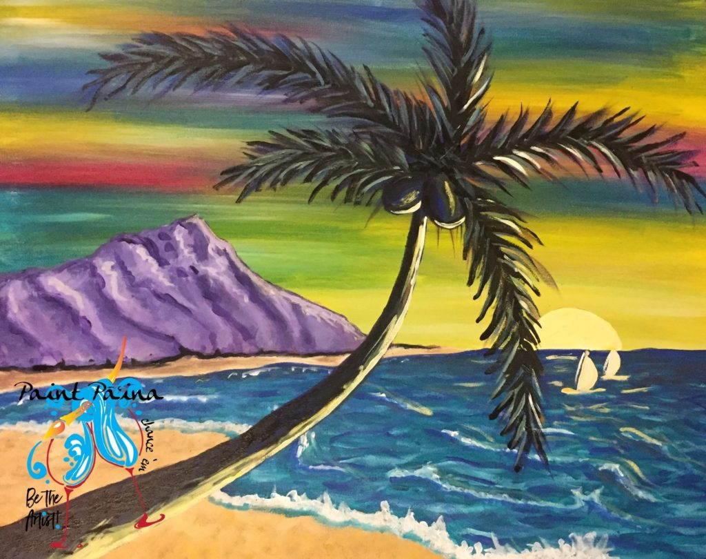 Diamond Head, paint party, paint paina, paint party Hawaii, Hawaiian style entertainment
