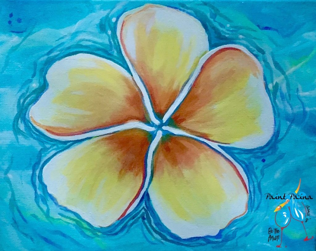 Floating Plumaria, paint party, paint paina, paint party Hawaii, Hawaiian style entertainment