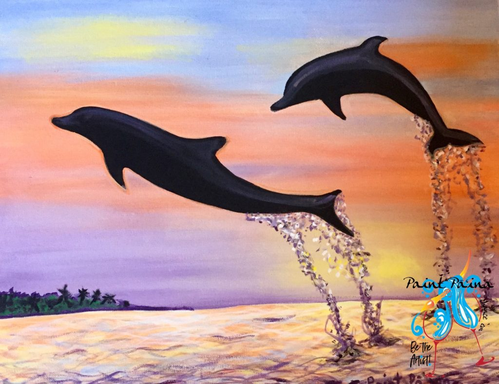 Dolphins Flyin High, paint party, paint paina, paint party Hawaii, Hawaiian style entertainment