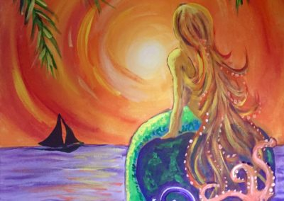 Sunset Mermaid, paint party