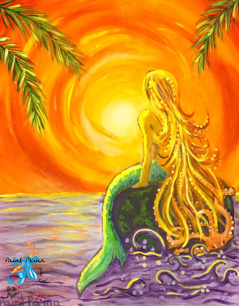 Sunset Mermaid, paint party, paint paina, paint party Hawaii