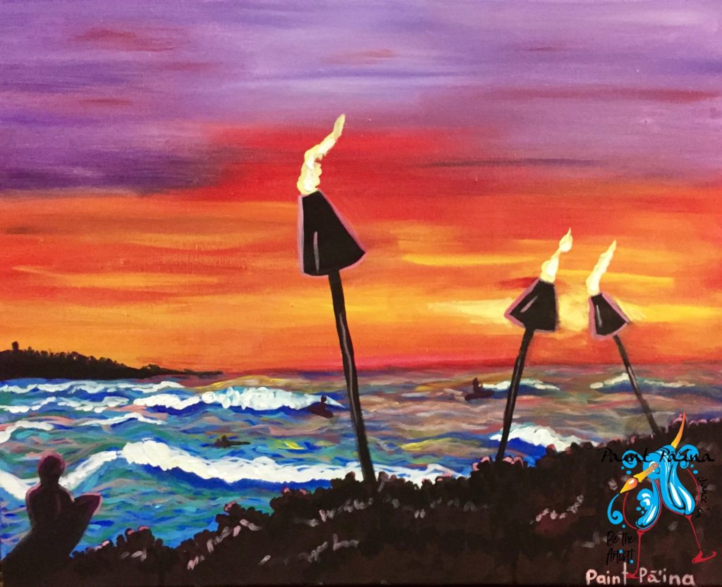 Sunset Surf, paint party, paint paina, paint party Hawaii, Hawaiian style entertainment