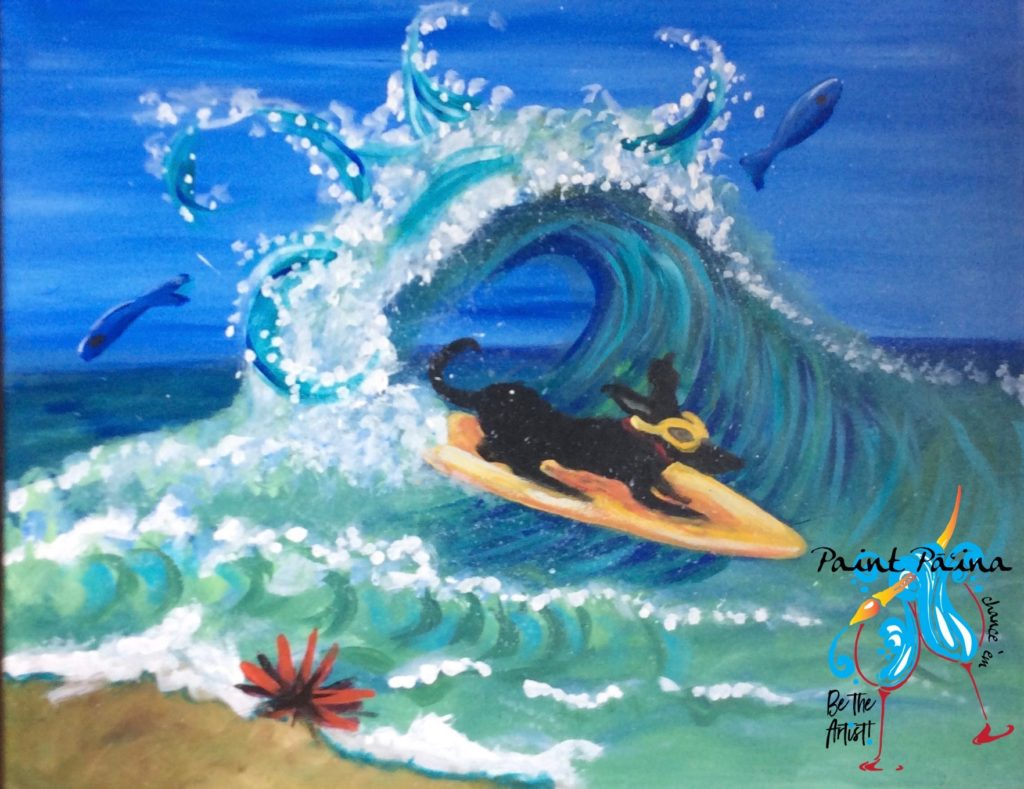 Surf Dog, paint party, paint party, paint paina, paint party Hawaii