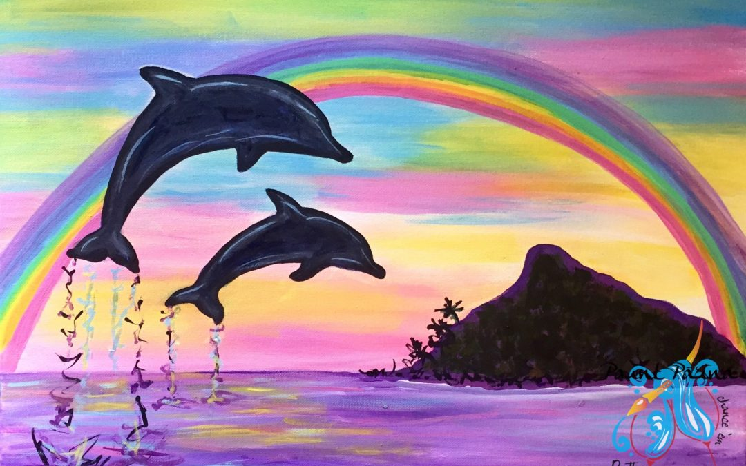 Paint Pāʻina – at Just Tacos in Mililani – Rainbow Dolphins