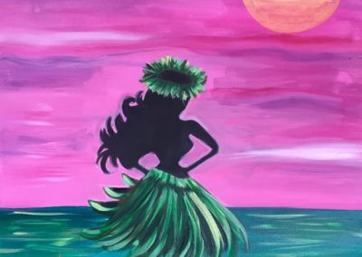 Hula Moon, paint party Hawaii