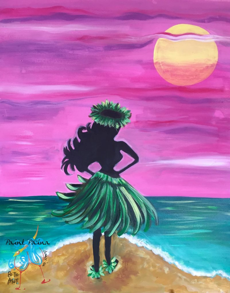 Hula Moon, Paint party Hawaii, Paint Paina, Hawaiian art, painting