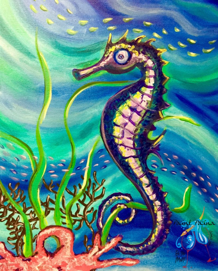 Seahorsing Around, Seahorse, paint paina, paint party hawaii