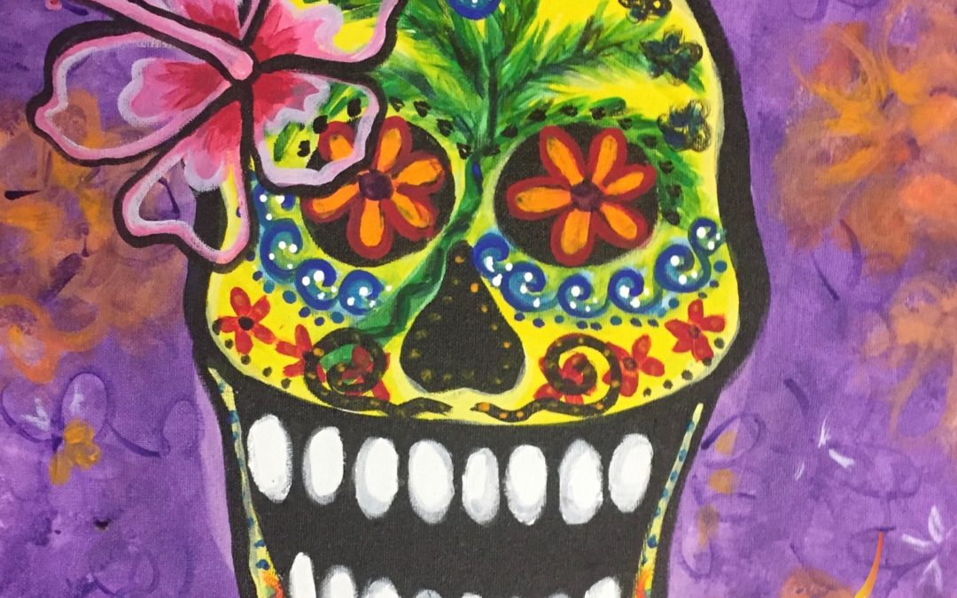 Paint Pāʻina – at Just Tacos in Mililani – Halloween Sugar Skull