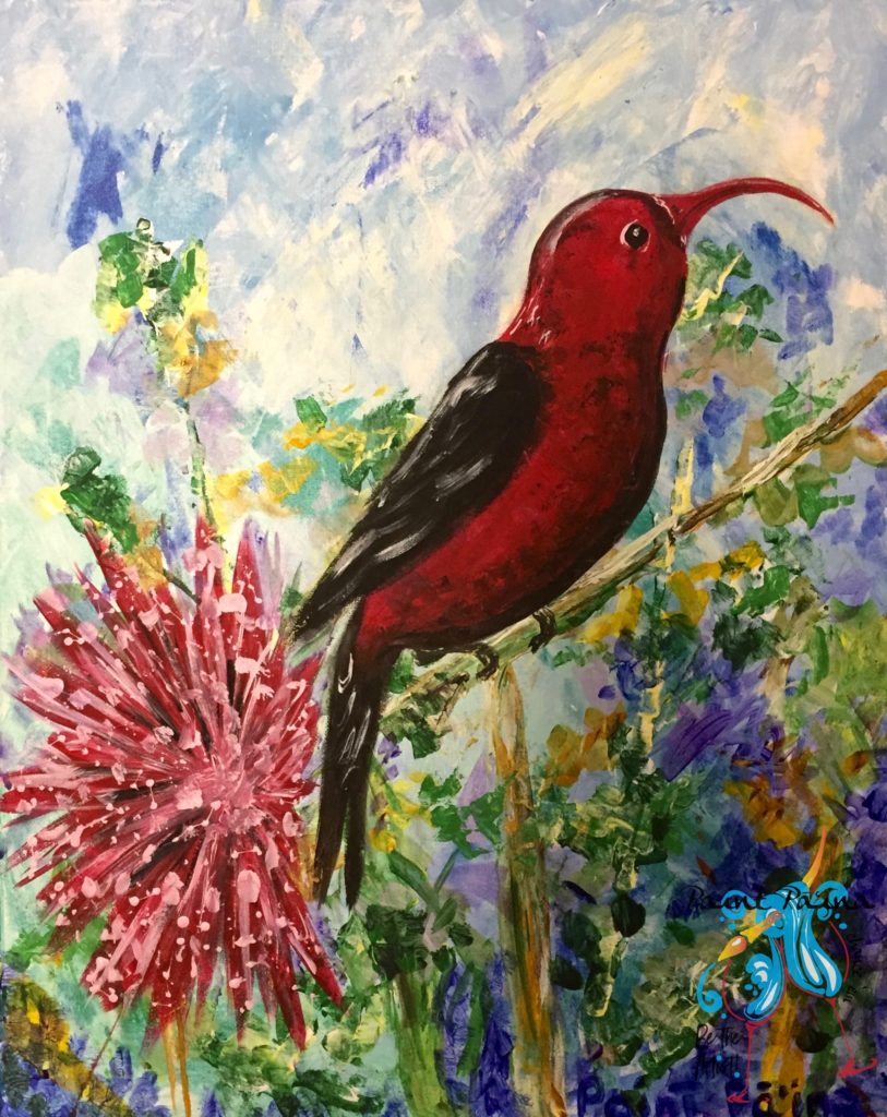Hawaiian ʻIʻiwi Bird, paint party hawaii, pallet knife painting, Hawaiian inspired art