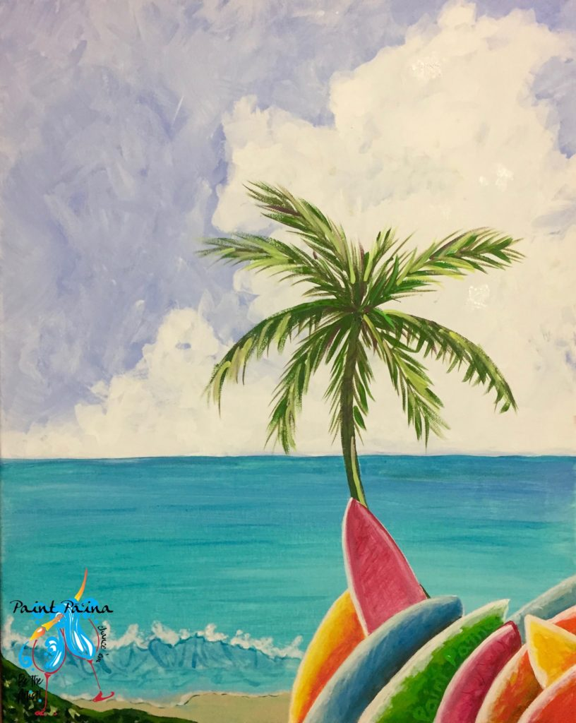 Paint paina, palm tree, surf party, painting, art class, paint party hawaii