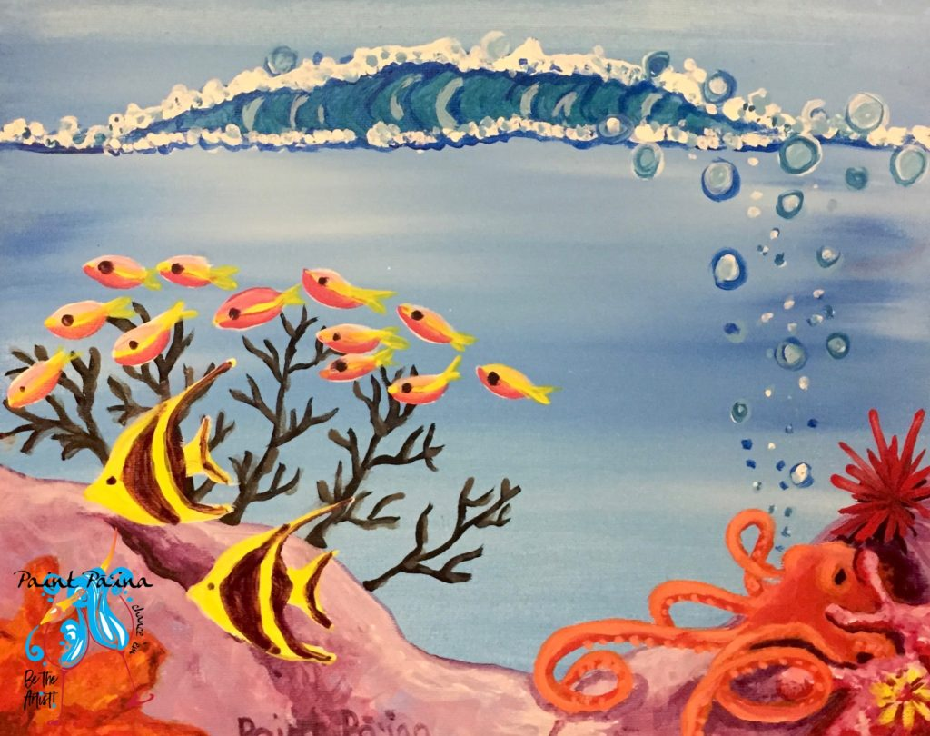 Reef Series, Ocotpus, paint party, paint paina, wine tasting, art class