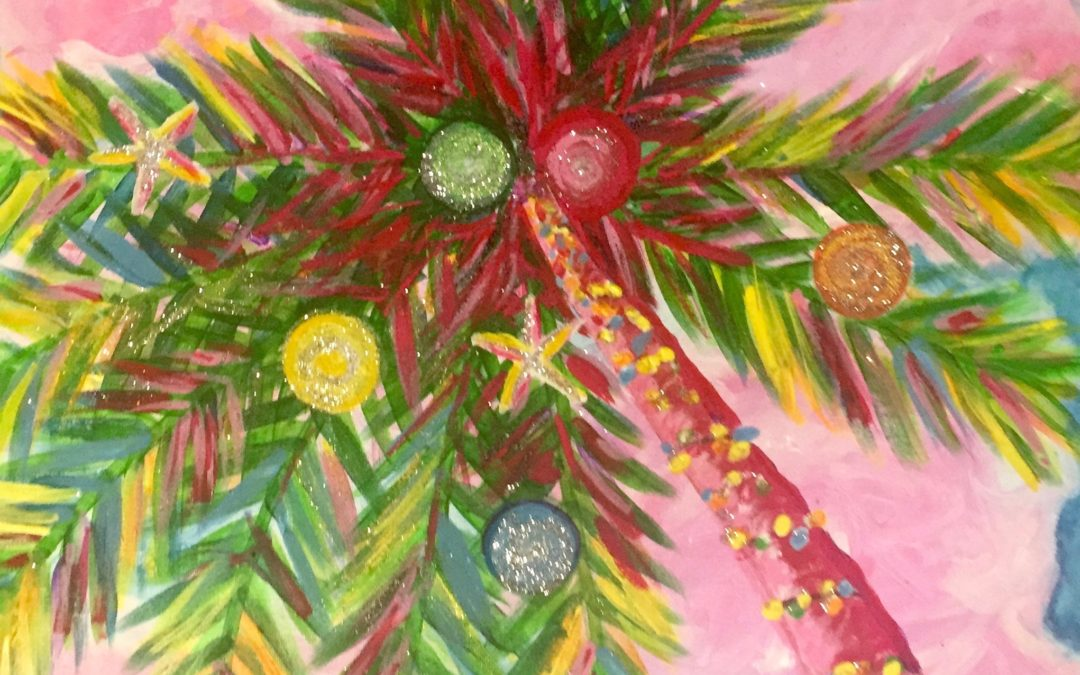 Paint Pāʻina  – Pink Clouds Christmas Palm – California Pizza Kitchen Mililani