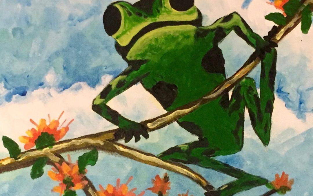 Painting Frog in the Wiliwili tree
