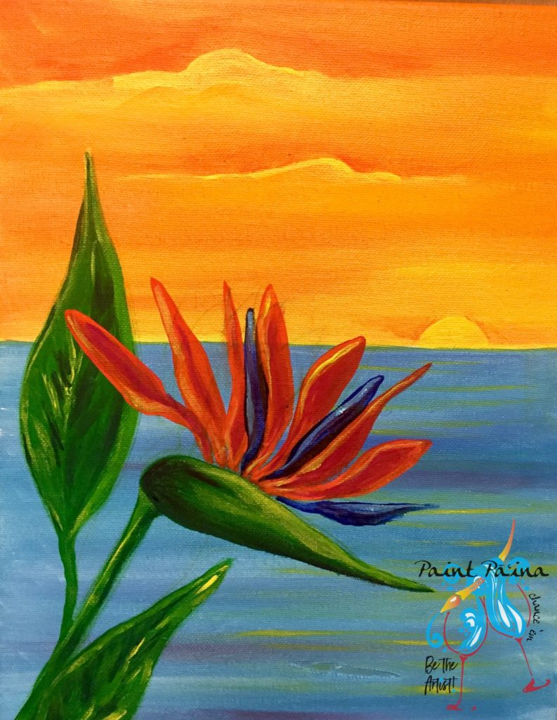 Bird of Paradise, paint party Hawaii, paint paina, paint and sip