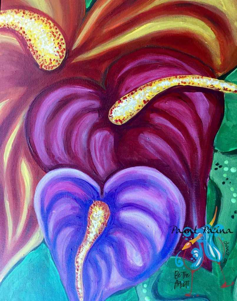 Colorful anthuriums, paint party hawaii