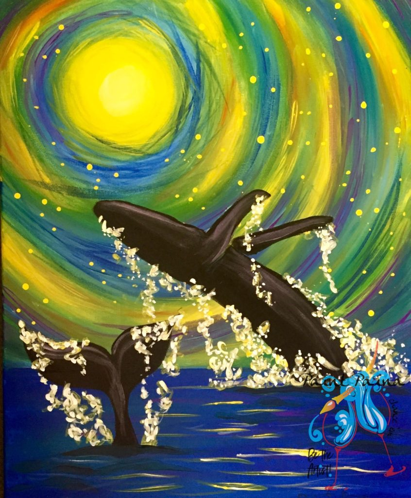 Whales Dancing in the Moonlight, paint party hawaii, paint paina, painting, art class