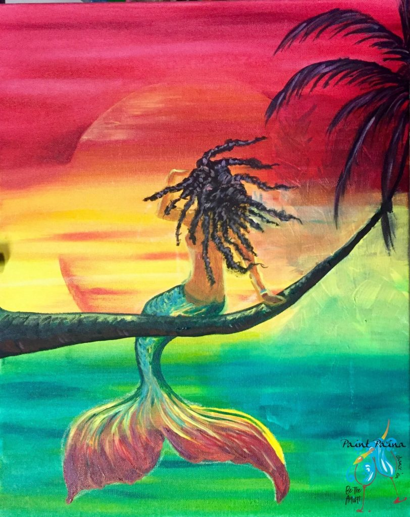 Rasta Mermaid, paint party Hawaii, Paint Paina, red green gold