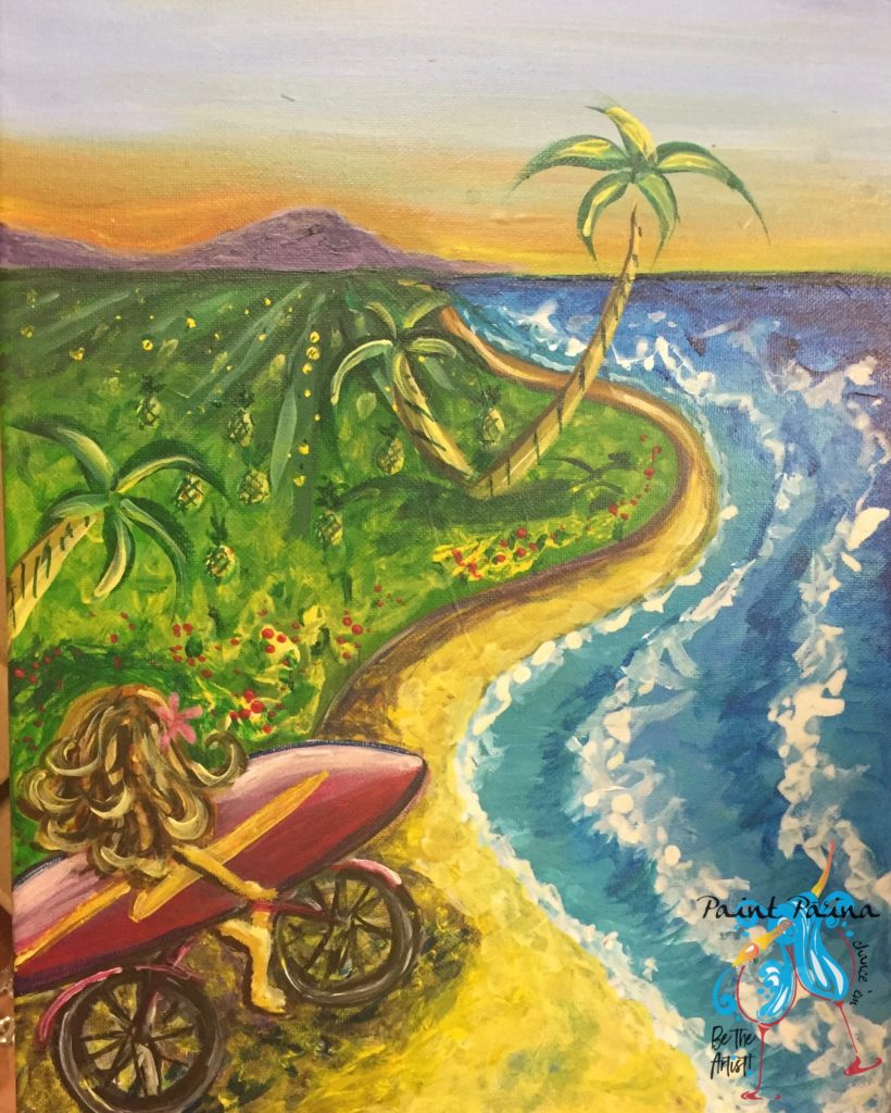 Paint Party Hawaii, paint and sip, Hawaiian style, painting art class, surfer girl