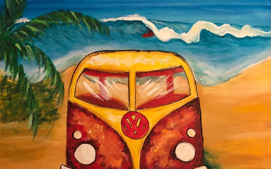 North Shore Dreaming, VW, Paint Party Hawaii, Surf art, paint party