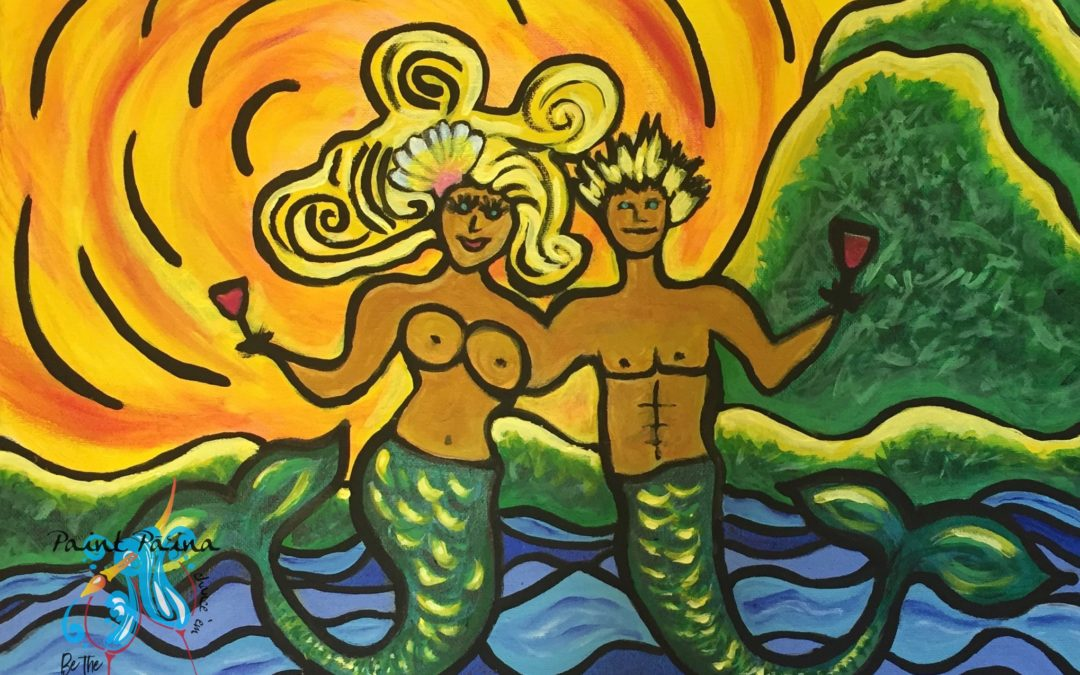 Mermaid Bliss, bachelorette party, painting, art class, paint party