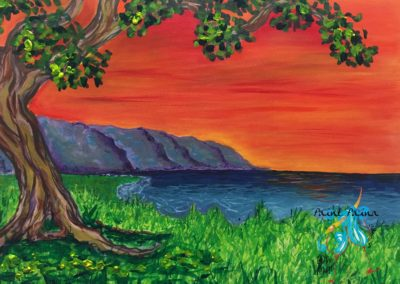 Orange Sunset, Paint Party Hawaii, Art Class, North Shore Oahu