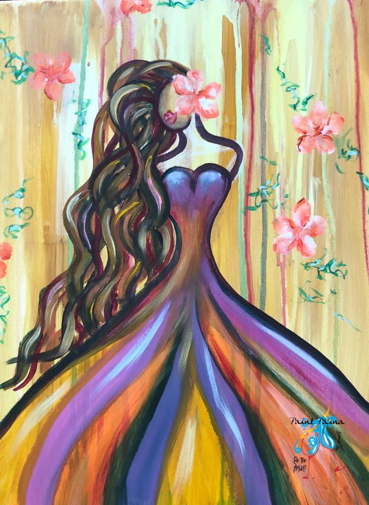 Island Girl, Paint Party, island art, paint paina, Hawaiian girl, art class, paint and sip, Island Images
